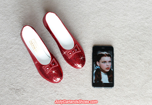 Sparkling size 5B hand-sewn ruby slippers
