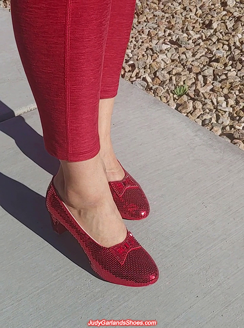 Wearing US women's size 9 hand-sewn ruby slippers