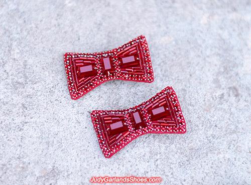 Hand-sewn ruby slipper bows, May 2021