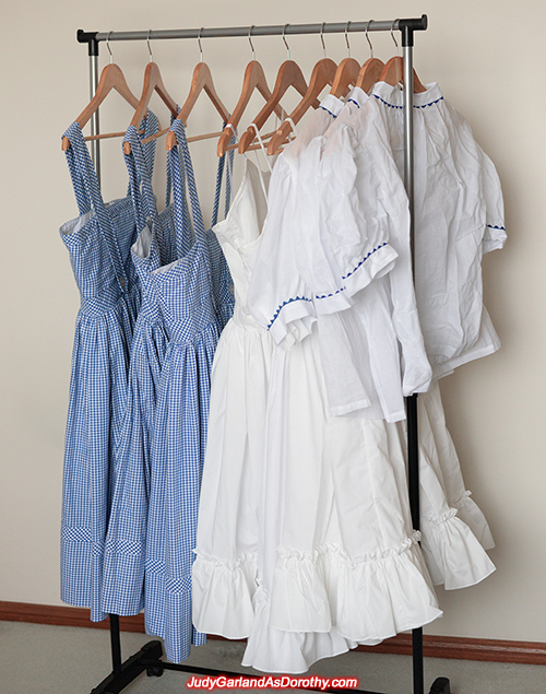Judy Garland's outfit hanging on clothes rack